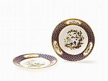 Vincennes, Two Rare Plates with Bird Painting, Late 18th C.