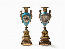 Huge Pair Ormolu-Mounted Porcelain Vases, Sèvres Style, 19th C.