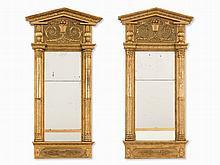 Pair of Swedish Giltwood Mirrors, Johan Martin Berg, 19th C.