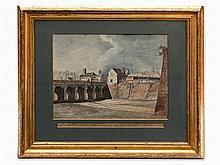 Antonio de Pian, Watercolor/Ink, Castle Gate Bridge, c. 1809
