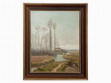 Eugène Bataillé, Isolated Landscape with Farm & Rider, 19th C.