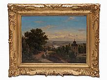 J. Wetzel, Oil Painting, View of a River Landscape, 1858