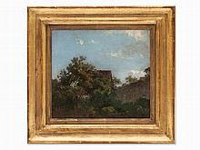Anton Burger, Oil Painting, House Behind Trees, c. 1860/70