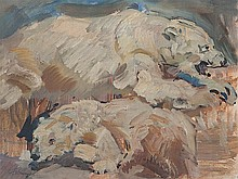Carl Fahringer (1874-1952), 'Two Polar Bears', ca. 1930