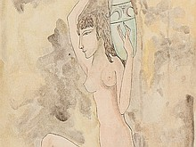 Tsuguharu Foujita, Watercolour, 'Femme grecque nue', c. 1950
