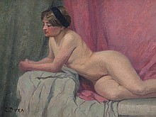 Carl Duxa (1871-1937), Reclining Nude, Austria, around 1920