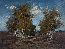 Eugène Galien-Laloue, 'Landscape with Birches', around 1890
