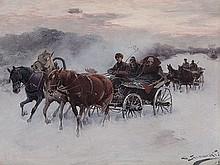 Alfred von Wierusz-Kowalski (1849-1918), 'Coach Ride', c. 1900
