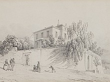 Albert Anker, Drawing 'House Hans Baumann in Neuchâtel', 1854