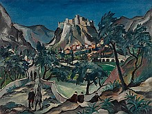 Franz Heckendorf, Oil Painting 'Klis near Salona', Croatia, 192