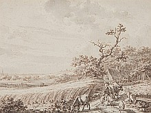 Jacob Cats (1741-1799), Drawing 'Pastoral Landscape', 18th C.