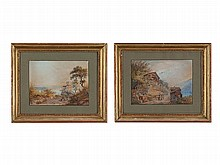 Johann U. Burri (1802-1870), Watercolours, Two Swiss Veduta