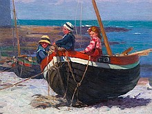 "Hans Christiansen, Painting ""Three Children in a Boat"