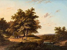 Barend Cornelis Koekkoek, Forest with a River Landscape, 1850
