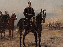 Emil Hünten, Oil Painting, Kaiser Wilhelm I. on Horseback, 1883
