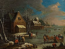 Dutch School, Oil Painting 'Fun on the Ice', 18th Century