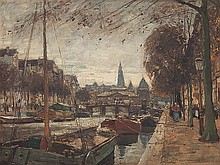 Heinrich Hermanns, Oil painting, 'Amsterdam Gracht', c. 1910