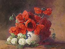 Max Th. Streckenbach, Still Life Poppies & Guelder Rose, 1910