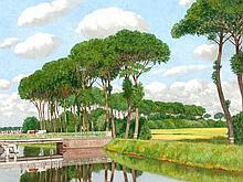Jef Leempoels, Oil Painting, 'Canal en Flandre', around 1915