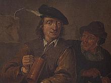 David Teniers II Follower, Oil Painting 'Revellers', 19th C