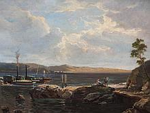 Painting, Norwegian Coastal Landscape with Steamers, c. 1900