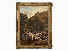 John Barrett, Oil Painting, Rocky Landscape with River, c. 1880