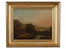 Oil Painting, Alpine Landscape at Sunset, around 1880