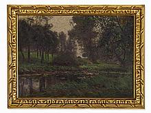 Adolf Lins (1856-1927), Painting, Forested Riverside, c. 1910