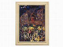 Moulin Rouge in Paris, Expressionistic Oil Painting, circa 1915