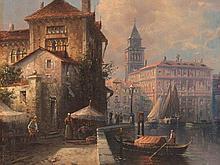 Karl Kaufmann (1843-1905), Painting, View of Venice, c. 1900