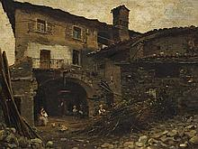 Silvio Poma (1840-1932), Italian Courtyard, circa 1890