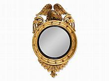 Regency Convex Mirror with Eagle Crest, England, 19th Century