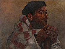 José Vela Zanetti (1913-1999), Oil Painting 'Castilian Farmer'