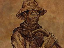 José Vela Zanetti (1913-1999), Oil Painting 'Farmer with Stick'