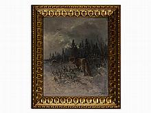 Moritz Müller, Painting, Fox in Winter Landscape, Germany, 1909