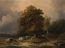 J. W. Schirmer, Landscape with old Oak and Figures, Oil, 1857