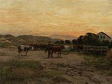 Carl Irmer (1834-1900), Evening Mood with Village, Oil, 1894