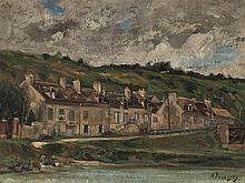Karl P. Daubigny (1846-1886), Riverside Houses, Oil, 19th C.