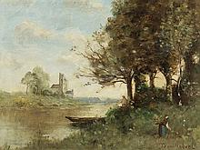Paul Desiré Trouillebert (1829-1900), Landscape, Oil, 19th C.
