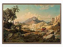 Edmund von Wörndle, Samson with Lion, Painting, 2nd H. 19th C.