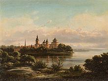 Ferdinand Richardt (1819-1895), Castle Gripsholm, Oil, 1869