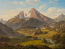Frederik Kiærskou (1805-1891), Mountain Landscape, Oil, 1887