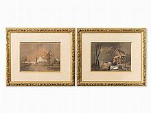 Joseph Altenkopf (1818-c.1860), 2 Landscape Watercolors, 1856