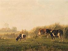 Cornelis I Westerbeek (1844-1903), Grazing Cows, Oil, 19th C.