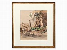 Ludwig Lange, Landscape Study, Watercolor, c. 1840