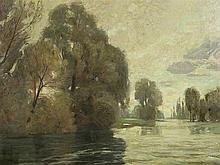 Wilhelm Volz (1855-1901), Lakeside Landscape, Oil, c. 1890