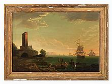 Coastal Landscape With Sailing Boats, Oil Painting, 19th C.