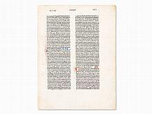 Original Bible Leaf from the Gutenberg-Press, Mainz, 1462