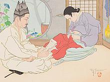 "Paul Jacoulet, Woodblock Print ""La lettre du fils"", Korea, 1938"