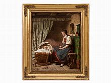 Julius Geertz, Oil Painting, A Young Mother, Germany, 1861